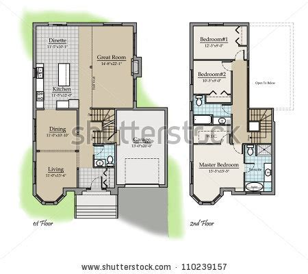 2 story home design names two storey floor plan colored with room names 스톡 사진