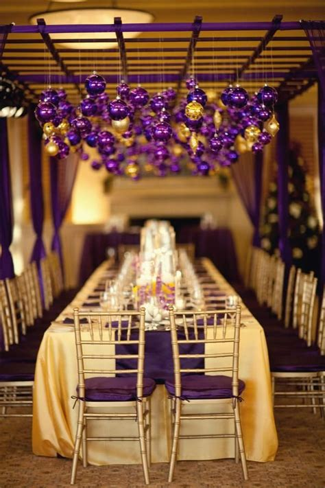 s change color scheme laker inspired purple and gold tablescape caroline wedding