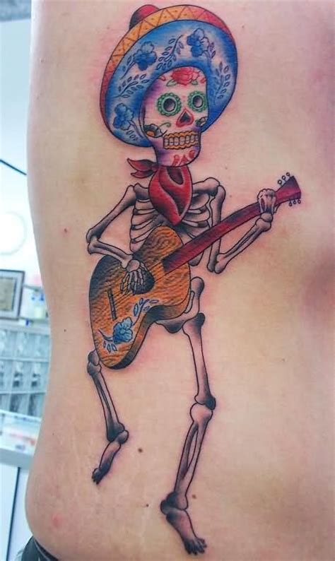 mexico skull guitar tattoo tattoomagz