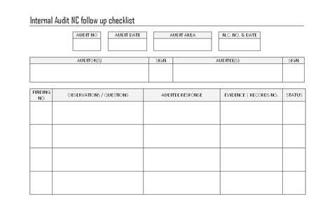follow up reports templates audit nc followup checklist format sles