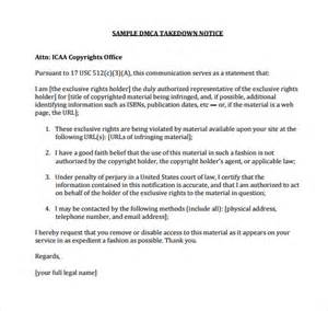 copyright infringement notice template sle dmca notice 9 documents in pdf