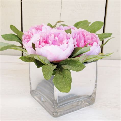 peonies in vase pink peonies in square vase bliss and bloom ltd