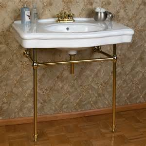 bathroom console sink pennington porcelain console sink with brass stand bathroom