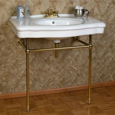 Bathroom Sink Consoles Pennington Porcelain Console Sink With Brass Stand Bathroom