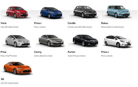 nissan cars names names of toyota models