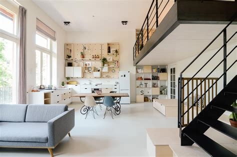 school building converted  modern family loft