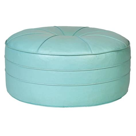 1960s Turquoise Over Sized Round Pouf Ottoman For Sale