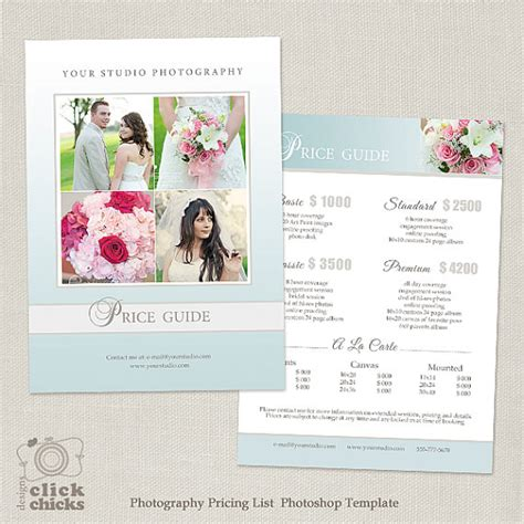 wedding price list template wedding photography package pricing list template