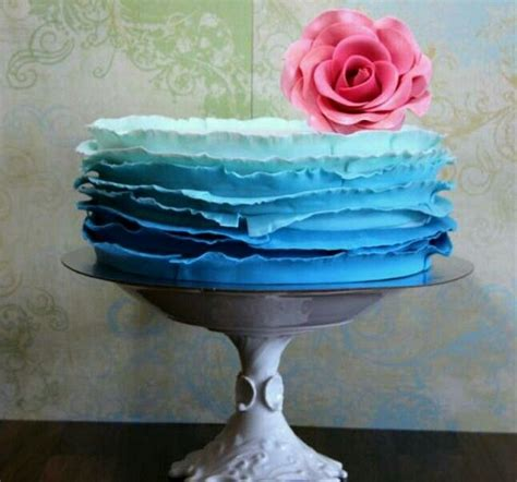 Ombre Cake Tosca by Blue Ombre Ruffle Cake With Pink Pretty Cakes