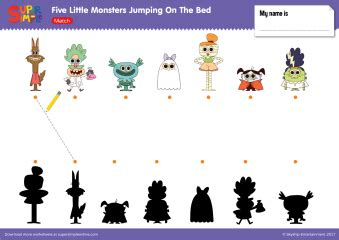 five little monsters jumping on the bed worksheets resource type super simple