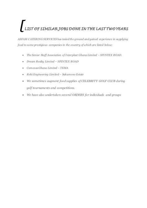 Business Letter For Canteen Asfam Catering Services Business