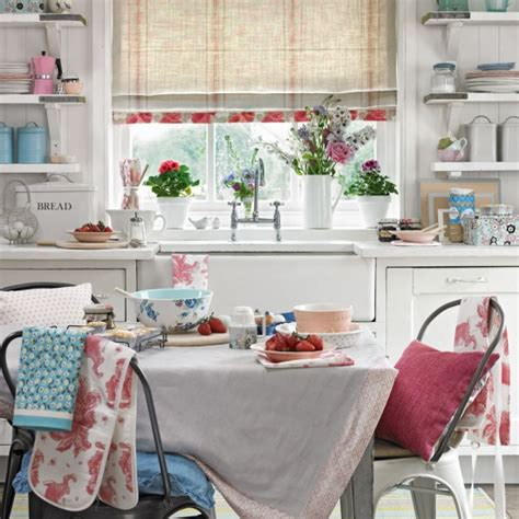 shabby chic kitchen with floral furnishings housetohome