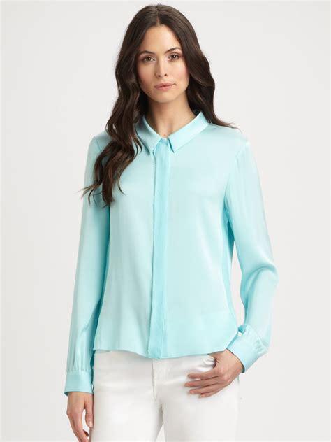 Blouse Batik Katun Premium Stretch Bl671 elie tahari stretch silk blouse blue denim blouses
