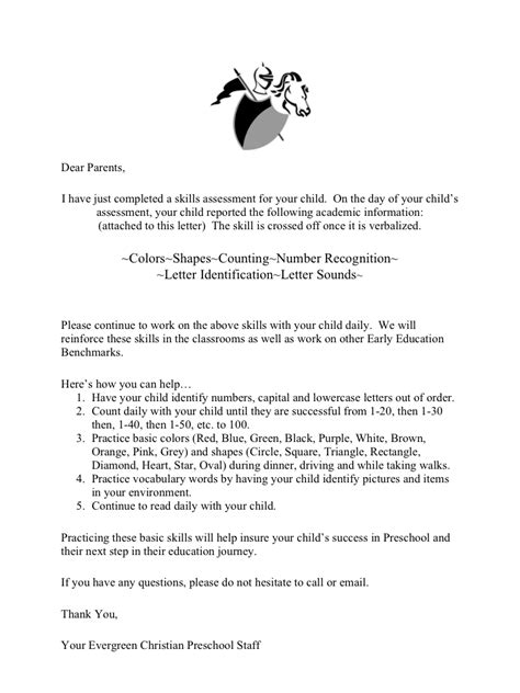 Parent Letter About Assessment preassessment letter to the parents preschool