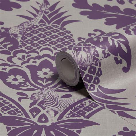 Holden Décor Bengal Purple Damask Wallpaper   Departments