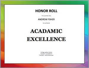 of honor template honor roll certificate template microsoft office templates
