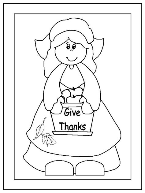 coloring page pilgrim girl pilgrim girl coloring pages pinterest