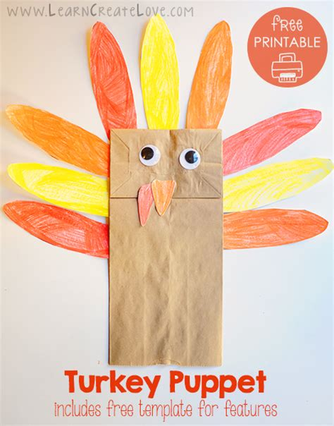Turkey Puppet With Printable Template Thanksgiving Templates For Preschoolers