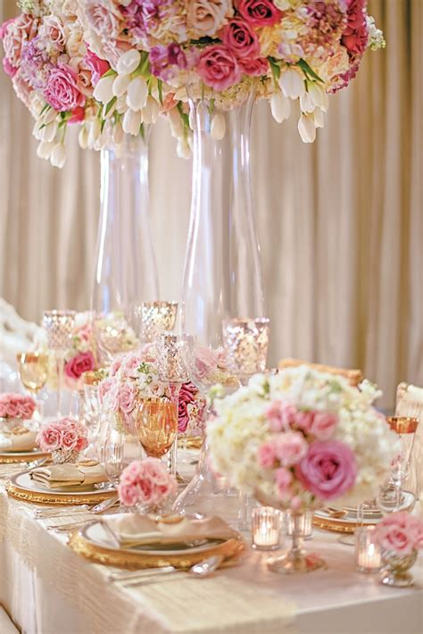 Reception d 233 cor photos gold pink amp white tablescape inside weddings