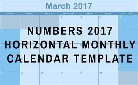numbers 2017 horizontal monthly calendar template free