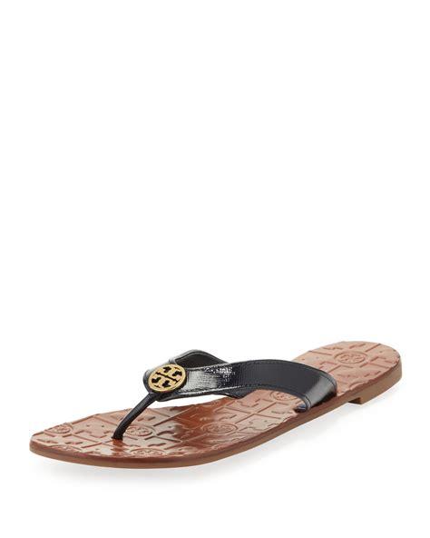 burch thora sandals lyst burch thora 2 patent sandal bright navy