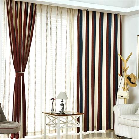 brown bedroom curtains brown white and navy blue striped jacuard chenille