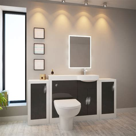 Apollo Bathroom Fitted Furniture Set Grey With 2 Storage Apollo Bathroom Furniture
