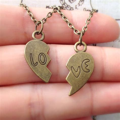 set of two half necklace couples jewelry matching