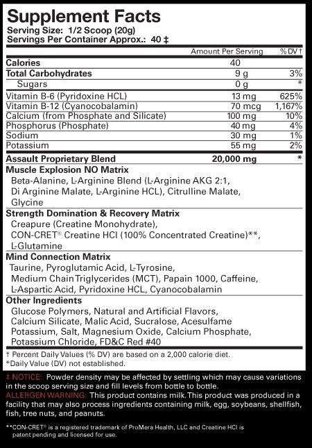 Mp Assault 30 Serving Suplemen Fitnes Pre Workout musclepharm assault 30 servings osborn