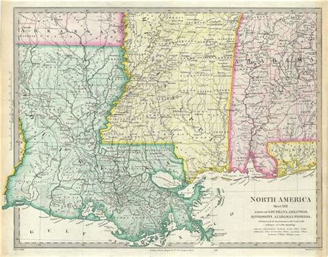 map louisiana alabama florida america sheet xiii parts of louisiana arkansas