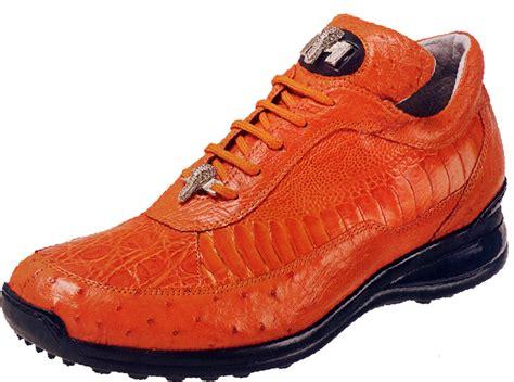 mauri killer 8842 orange genuine ostrich flank crocodile ostrich leg sneakers 999 90