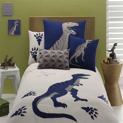 Embroidered Gray Dinosaur Bedding Set Dinosaur Bedding Dinosaur Bedding