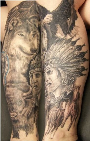 native american tattoo sleeve american leg by jeff raiano tattoonow