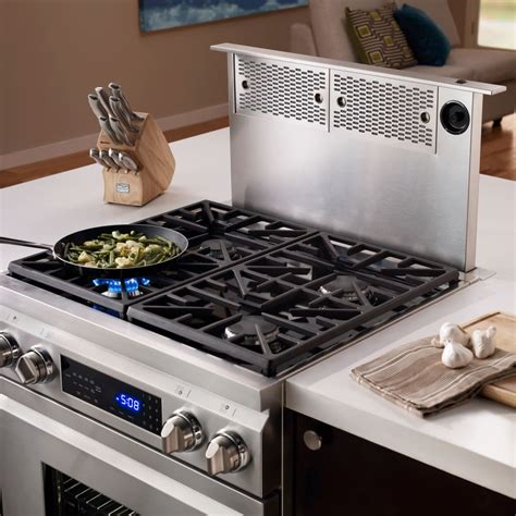dual fuel range with downdraft exhaust dacor erv3015 30 inch epicure downdraft ventilation system