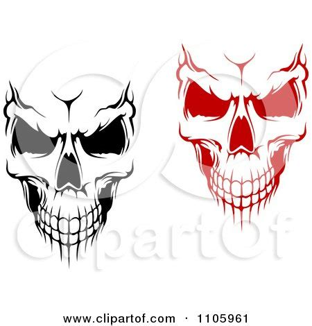clipart evil black and white and red skulls royalty free