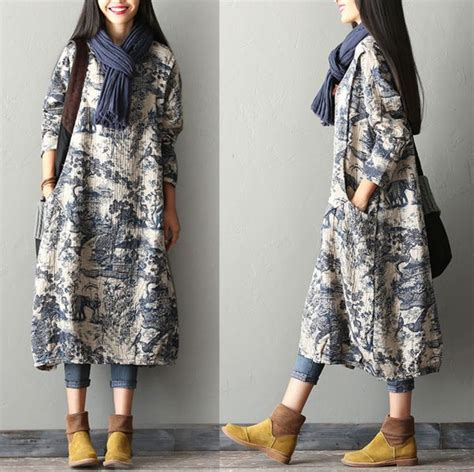 Jaket Wanita Winter Colum Printed Terbaru femmes robe en le robe maxi dress buykud 1