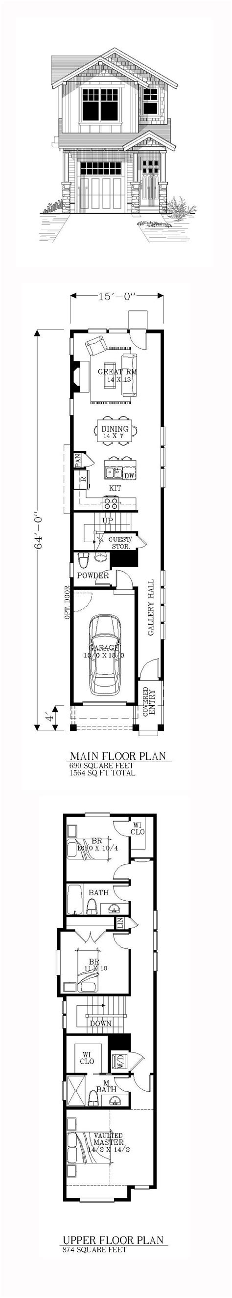 House Plans For Narrow Lot by 25 Best Ideas About Narrow House Plans On