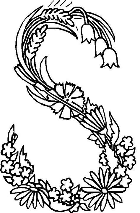 alphabet coloring pages with flowers coloring page alphabet flower s coloring me