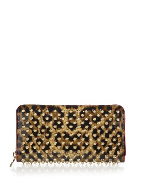Christian Louboutin Panettone Wallet Leopard by Christian Louboutin Panettone Spiked Leopard Print Zip Around Wallet In Brown Lyst