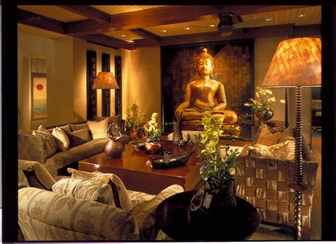 Buddha Room Decor Family Room Asian Family Room Hawaii By Dizier Design