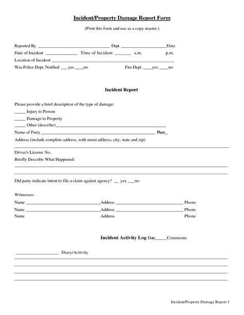 damage report form template 26 simple book of property damage frankfort dototday