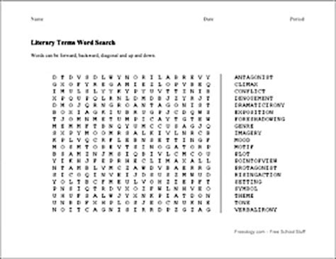 free printable word search literary terms literary terms word search edit the words to be the