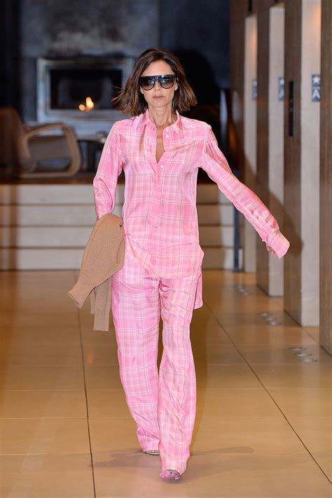 Beckham Pink beckham wears pink pyjama style in new