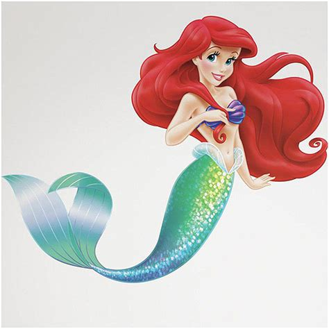 ariel wall stickers the mermaid peel and stick wall decals walmart