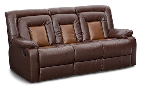 Mustang Dual Reclining Sofa With Console Brown Reclining Sofa With