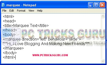 tutorial html marquee image gallery marquee text