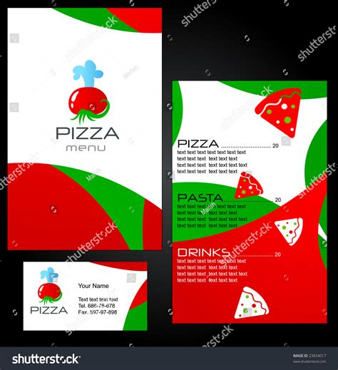 Pizza Template For A Card by Template Menu Pizza Restaurant Business Card Stock Vector
