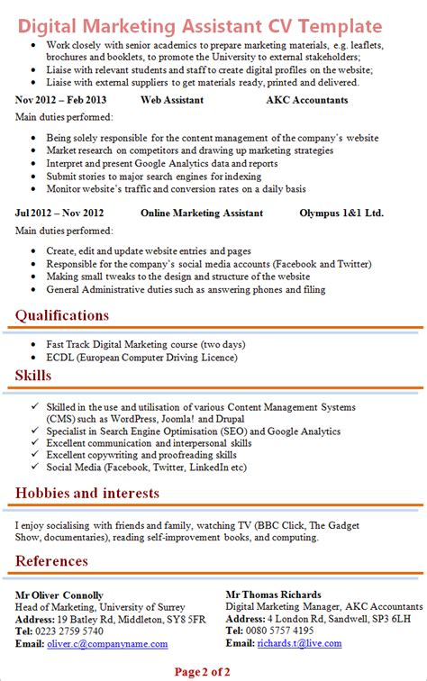 marketing cv exle graduate digital marketing assistant cv template 2