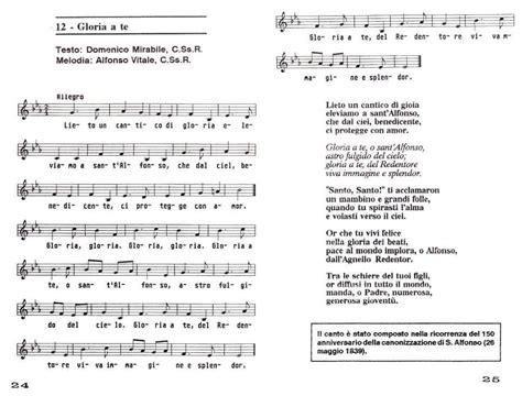 noi canteremo gloria a te testo sant alfonso e dintorni 187 archiv 187 canti in onore di