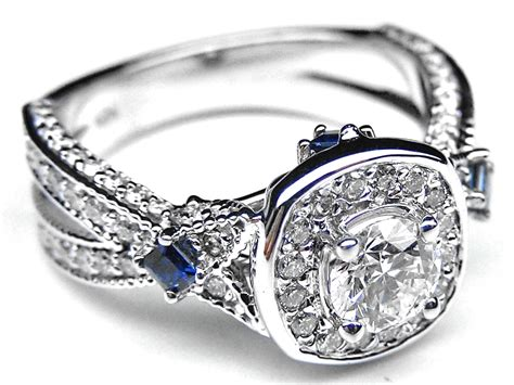 Square Diamond And Sapphire Engagement Rings Engagement Ring Diamond Halo Laced Engagement Ring